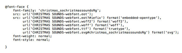 Example of the @font-face code to paste into your stylesheet