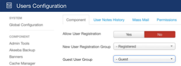 Changing the Guest User Group in Joomla User Manager Parameters
