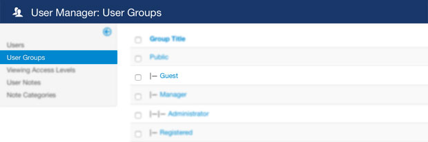 User Groups in Joomla User Manager