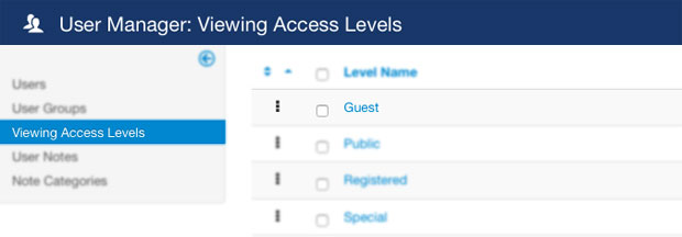 Viewing Access Levels in Joomla User Manager
